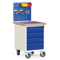 Protaurus Werkstatt-Rollcontainer mit 4 Schubladen und 35mm Multiplexplatte, optional mit Aufbau