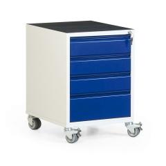 Protaurus Werkstatt-Rollcontainer mit 4 Schubladen und Riffelgummi- / Multiplexmatte