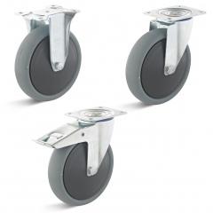 Rollcart TPE-ESD-Rollen in grau mit Kunststoff-Felge
