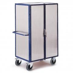 Rollcart Aluminiumschrankwagen mit 4 Etagenböden, 2 Türen und Zylinderschloss
