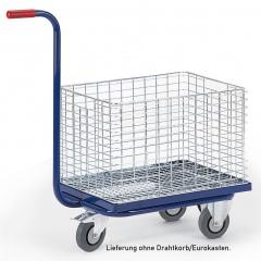 Rollcart Dreirad- Griffroller mit Ladefläche für Drahtkorb oder Eurokasten