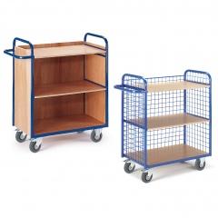 Rollcart Etagenwagen mit 3 Wänden 1070mm hoch und 3 Ladeflächen im Buchendekor ohne Rand
