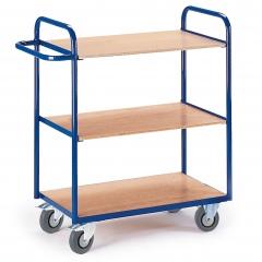 Rollcart Etagenwagen ohne Wände 1070mm hoch mit 3 Ladeflächen im Buchendekor ohne Rand