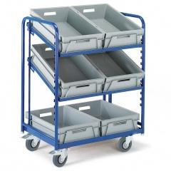 Rollcart Eurokastenwagen inkl. Kästen in grau mit 2 offenen neigbaren Ladeflächen aus Winkelstahl