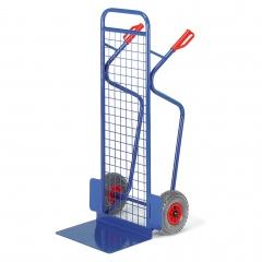 Rollcart Große Gitter-Stapelkarre aus Stahlrohr 250kg Tragkraft Luft