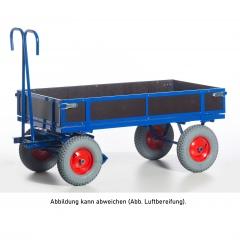 Rollcart Handpritschenwagen mit Holzbordwänden Vollgummi/Luft