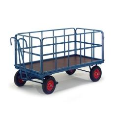 Rollcart Handpritschenwagen mit Rohrgitterwänden Vollgummi/Luft