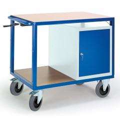 Rollcart Höhenverstellbarer Tischwagen mit Stahlschrank