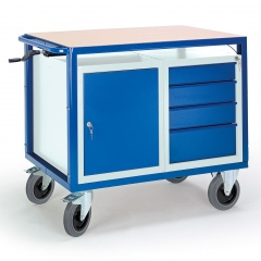 Rollcart Höhenverstellbarer Tischwagen mit Stahl- und Schubladenschrank
