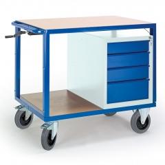 Rollcart Höhenverstellbarer Tischwagen mit Schubladenschrank