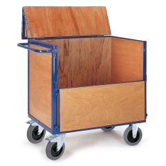 Rollcart Holzkastenwagen halb geklappt mit Deckel und 600kg Tragkraft