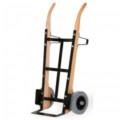 Rollcart Holzsackkarre -141- aus Buchenholz  1350mm hoch mit Vollgummi- oder Luftbereifung 370x140mm Stahlblechschaufel