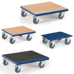 Rollcart Kistenroller mit Vollgummi-Bereifung und Holz, Riffelblech oder Riffelgummi