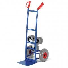 Rollcart Klapp- Treppenkarre aus Stahlrohr mit Wechselrädern, dreiarmige Vollgummi- Radsterne und Luftbereifung, Schaufelbreite 300mm