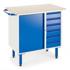 Rollcart Kleine Werkbank auf Füßen mit 6 Schubladen und Stahlschrank