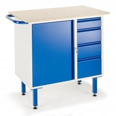 Rollcart Kleine Werkbank auf Füßen mit 4 Schubladen und Stahlschrank