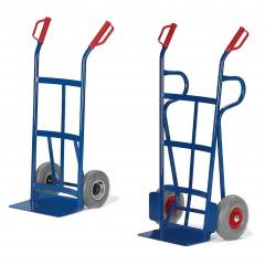 Rollcart Sackkarre mit Rückwand aus Flachstahl 1050-1250mm hoch Schaufelbreite 400mm Vollgummi/Luft
