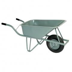 Rollcart Schubkarre aus Stahlrohr mit Luftrad und eckiger Stahlmulde 100l Volumen