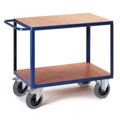 Rollcart Schwerer Tischwagen mit 2 Ladeflächen im Buchendekor 600kg Tragkraft