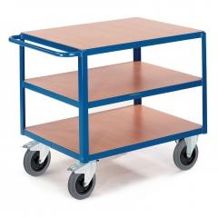 Schwerer Tischwagen mit 3 Ladeflächen im Buchendekor 1200x800mm