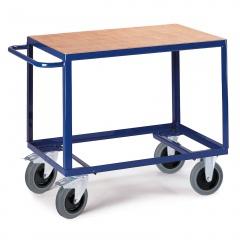 Rollcart Schwerer Tischwagen mit Ladefläche im Buchendekor 500kg Tragkraft
