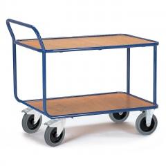 Rollcart Schwerer Tischwagen mit Rohrrahmen und 2 Ladeflächen im Buchedekor 1200kg Tragkraft