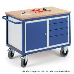 Rollcart Werkstattwagen mit Stahlschrank und 4 Schubladen 600kg Tragkraft