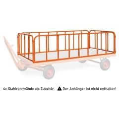Rollcart 4 Stahlrohrwände, steckbar 750mm hoch für Industrieanhänger als Zubehör