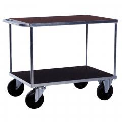 Rollcart Tischwagen, verzinkt mit 2 Ladeflächen aus Holzwerkstoffplatte 500kg Tragkraft