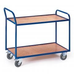 Rollcart Tischwagen mit abgewinkeltem Schiebegriff und 2 Etagen im Buchendekor 990x590mm