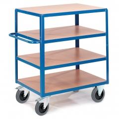 Rollcart Schwerer Tischwagen mit 4 Ladeflächen im Buchendekor 600kg Tragkraft