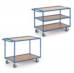 Rollcart Tischwagen mit 2-3 Etagen im Buchendekor 300kg Tragkraft