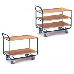 Rollcart Tischwagen mit 2-3 Etagen 775x475mm Buchedekor 20mm Rand