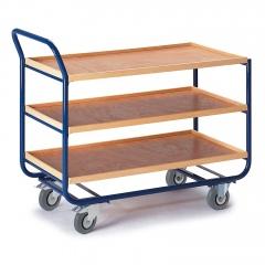 Rollcart Tischwagen mit 3 Etagen 775x475mm Buchedekor 20mm Rand