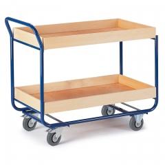 Rollcart Tischwagen mit 2 Etagen 775x475mm Buchedekor 80mm Rand