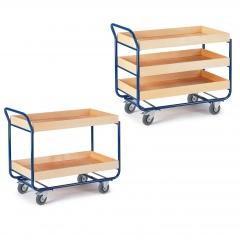 Rollcart Tischwagen mit 2-3 Etagen im Buchedekor 80mm Rand