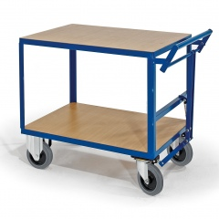 Rollcart Schwerer Tischwagen mit Totmannbremse und 2 Ladeflächen im Buchedekor 600kg Tragkraft