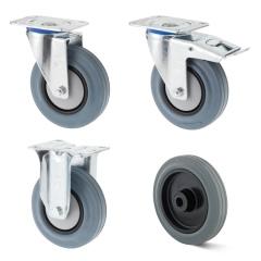 Rollcart TPE-Rollen in grau mit Kunststoff-Felge