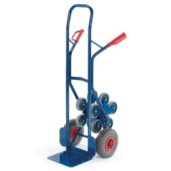 Rollcart Stahlrohr-Treppenkarre, mit fünfarmigen Vollgummi- Radsternen und Luftbereifung, Schaufelbreite 300mm