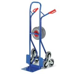 Rollcart Stahlrohr-Treppenkarre mit Wechselrädern, dreiarmige Vollgummi- Radsterne und Luftbereifung, Schaufelbreite 300mm