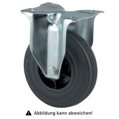 Rollcart Vollgummi-Bockrolle Ø125x37mm in schwarz 100kg Tragkraft mit Kunststoff-Felge