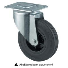 Rollcart Vollgummi-Lenkrolle Ø125x37mm in schwarz 100kg Tragkraft mit Kunststoff-Felge