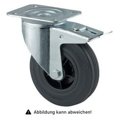 Rollcart Vollgummi-Lenkrolle mit Doppelstop Ø125x37mm in schwarz 100kg Tragkraft mit Kunststoff-Felge