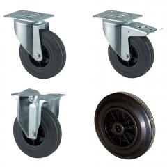 Rollcart Vollgummi-Rollen in schwarz mit Kunststoff-Felge