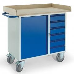 Rollcart Montagewagen mit Holzrand, 6 Schubladen und Stahlschrank