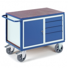 Schwerlast- Werkstattwagen mit Stahlschrank und 4 Schubladen 1000kg Tragkraft