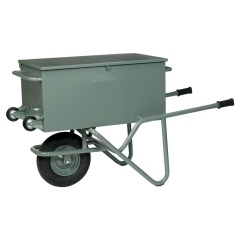 Rollcart Werkzeug-Transportkarre aus Stahlrohr mit Luftrad und eckiger Stahlmulde 100l Volumen