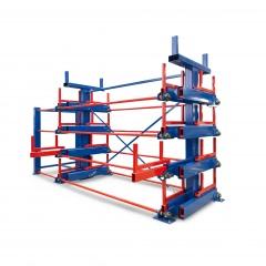 R+R Industrietechnik Roll-Aus-Regal einseitg Typ RRA-D 2x4 Lagerebenen plus Dachablage