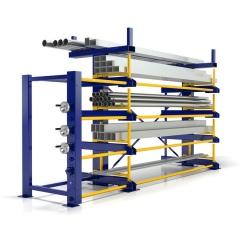 R+R Industrietechnik Roll-Aus-Regal einseitg Typ RRA-E 1x4 Lagerebenen plus Dachablage