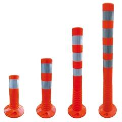 Schake Flexipfosten Ø80mm in rot mit weiß reflektierenden Streifen und Dübelbefestigung aus PUR 300-1000mm hoch